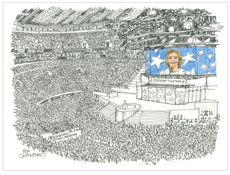 Hillary Clinton at the 2016 Democratic National Convention, accepts her party's nomination for President of the United States of America