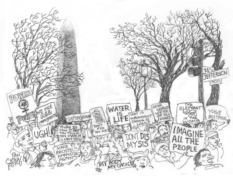 DC Woman's March 21 Jan 2017.  Fog on Washington Monument, messages clear.  Prints: rondraw@gmail.com