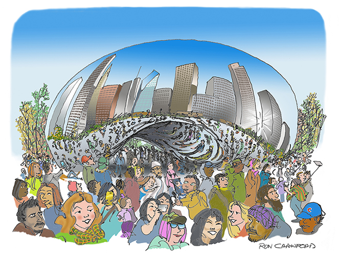 The Bean in Chicago.  Very popular.  Prints:  email rondraw@gmail.com